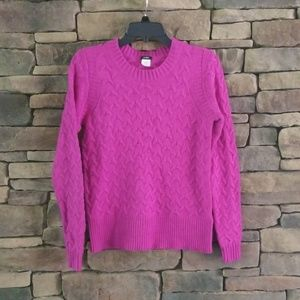 J. CREW Purple Honeycomb Cable Sweater.